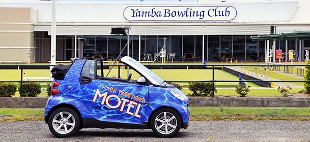 The Yamba bowling club the hub of entertainment located directly opposite the Yamba Twin Pines Motel